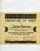 Julius Shulman-Certificate of Merit, LA County Museum of History