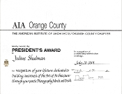Julius Shulman-AIA Orange County, Presidents Award, 2001