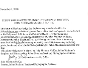 Julius Shulman Trust and Photographic Archives Acknowledgement
