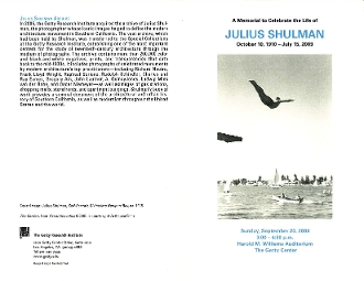 Julius Shulman-Memorial to Celebrate the Life of Julius Shulman