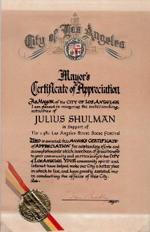 "Julius Shulman-Award, ""Mayor's Certificate of Appreciation, 1980"