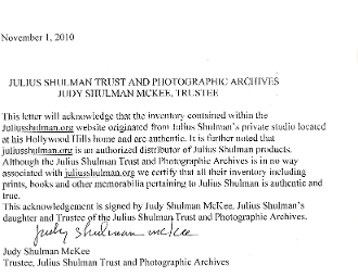 Julius Shulman Trust & Photographic Archives Authentication